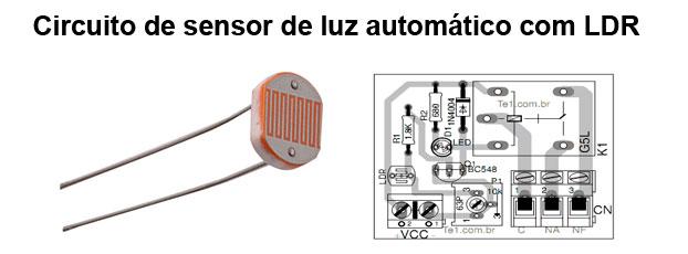 Circuito de sensor de luz com LDR