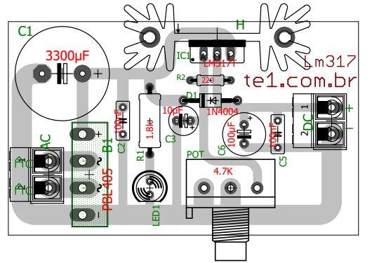 Circuito Lm317 : Circuito de fonte regulada ajustável com ci lm