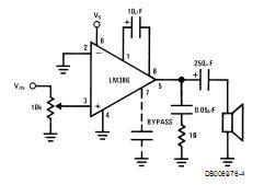 amplificador com lm386 ganho = 200