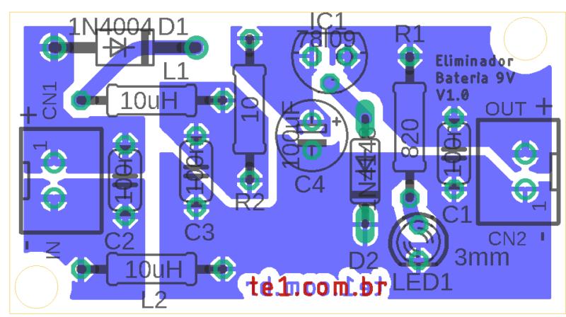 Circuito eliminador de bateria pcb placa