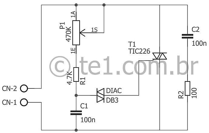 , Circuito de dimmer com Triac TIC226 ou BTA10 – Controle potência