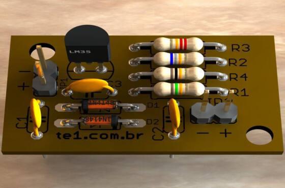 Mdulo de temperatura para multmetro com lm35  placa de circuito impresso módulo de temperatura para multímetro com lm35