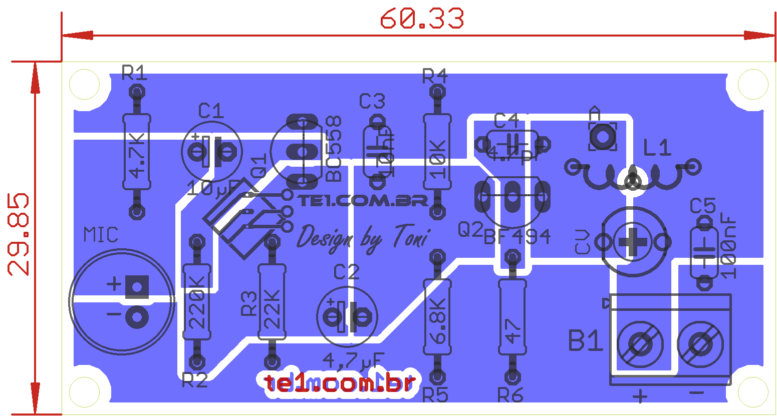 Circuito de micro transmissor de FM espião com bf494 - com etapa pré amplificadora de áudio - ultra sensível