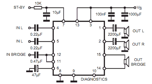 Circuito  lificadortda7375 on simple audio amplifier schematic