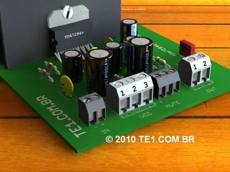 amplificador tda7294 450x337 Amplificador potencia audio com tda7294 80W   Arquivos autalizados! tda7294 tda placa de circuito impresso Circuitos Áudio Amplificadores