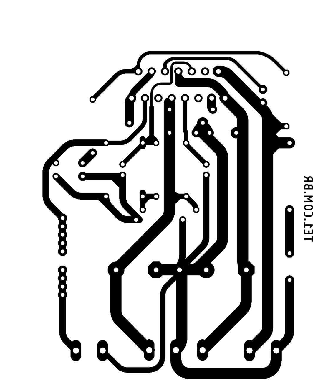 Sugestão de placa de circuito impresso para montagem do circuito, em tamanho real da montagem