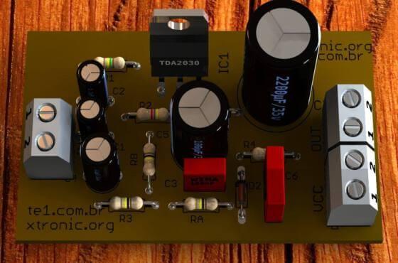 Circuito de amplificador de áudio de potência com circuito integrado tda2030 para aplicações automotivas para 14 watts rms