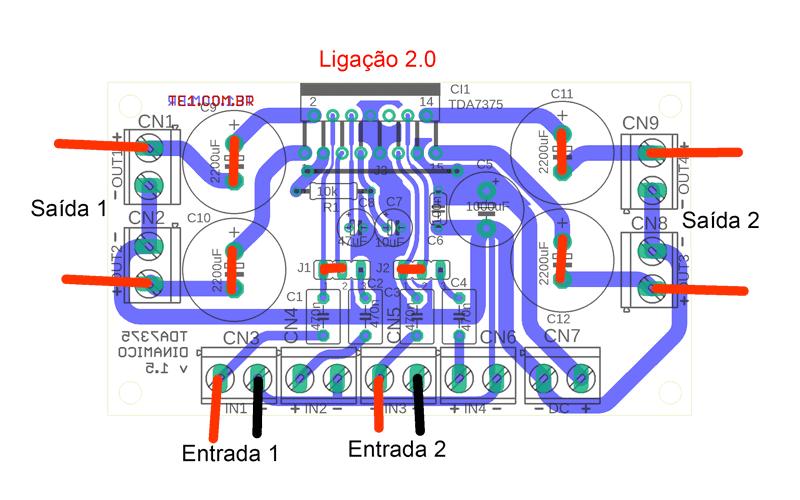 Tda7375 ligacao estereo tda7375 amplificador ci tda7375 ircuito de amplificador de áudio dinâmico