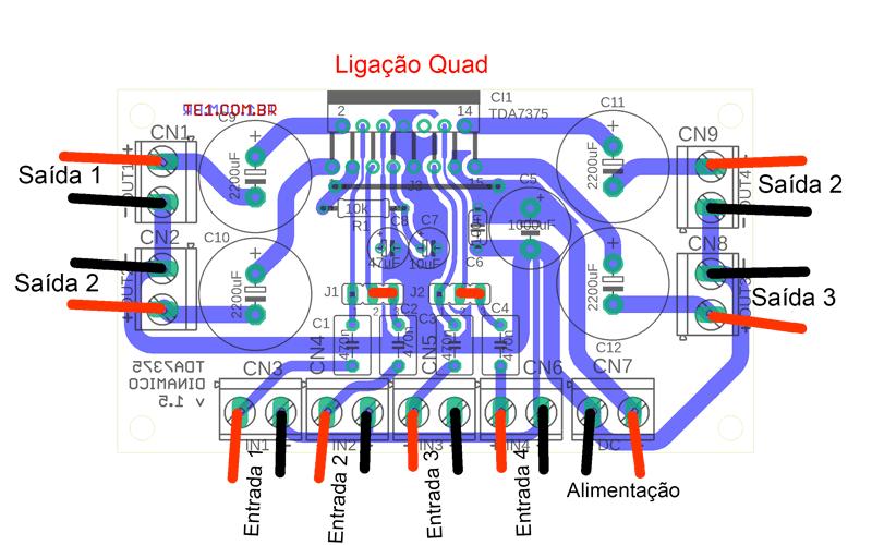 Tda7375 ligacao quad tda7375 amplificador ci tda7375 ircuito de amplificador de áudio dinâmico