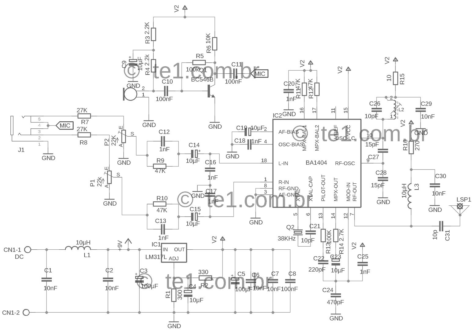 transmissor ba140 esq Circuito de transmissor de fm estéreo com ba1404 para MP3, ipod. Transmissores Fm Transmissores e RF Transmissores placa de circuito impresso Circuitos Áudio
