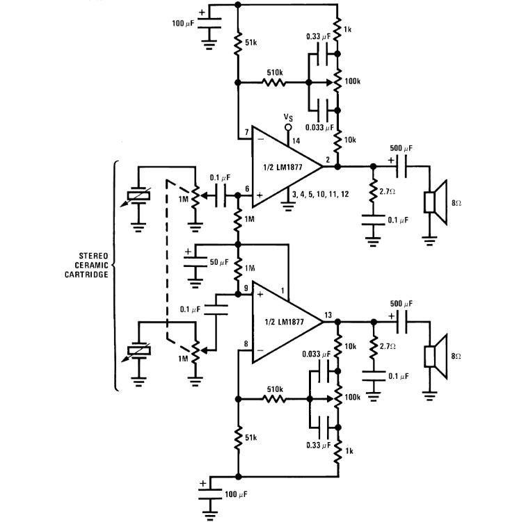 Esquema Lm1877 Amplificador Lm1877 Amplificador Lm1877 Circuito De Amplificador Estéreo Com Integrado - 2W