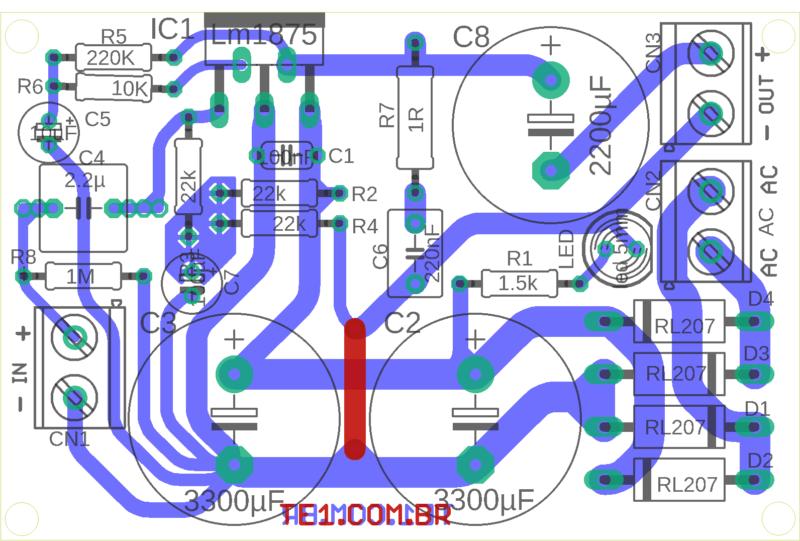 Lm1875 Power Amplifier Circuit Layout 1 Lm1875 Amplificador Lm1875 Circuito De Amplificador De Potência 30W