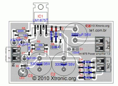 lm1875 power amplifier circuit layout 450x328 Circuito de amplificador de potência de com CI LM1875 Circuitos Áudio