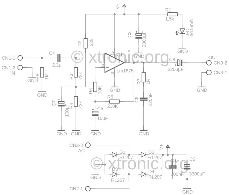 Lm1875 Power Amplifier Circuit Schematic 1 Lm1875 Amplificador Lm1875 Circuito De Amplificador De Potência 30W