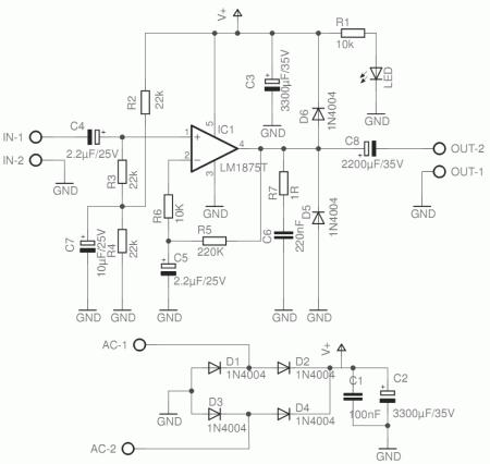 lm1875 power amplifier circuit schematic 450x426 Circuito de amplificador de potência de com CI LM1875 Circuitos Áudio