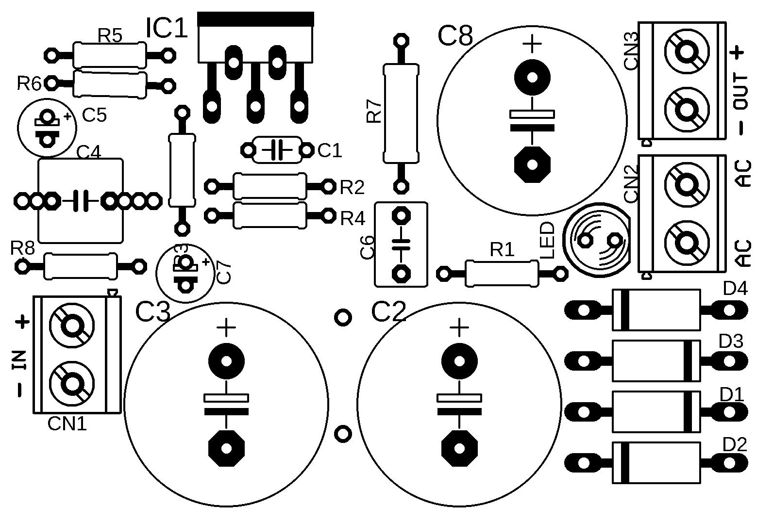 lm1875 power amplifier circuit silk Circuito de amplificador de potência de com CI LM1875 Circuitos Áudio