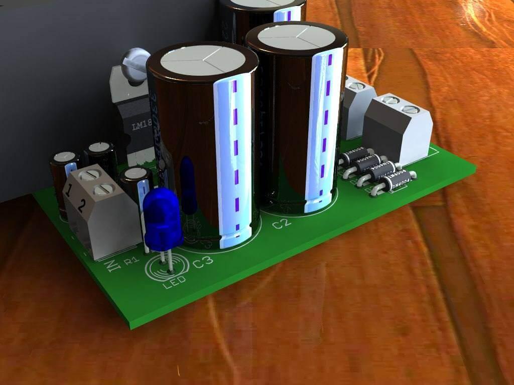 Circuito de amplificadorde potência com CI LM1875