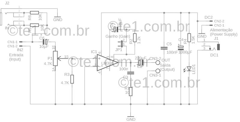 Lm386 amplificador potencia audio lm386 amplificador lm386 circuito amplificador de áudio com pcb