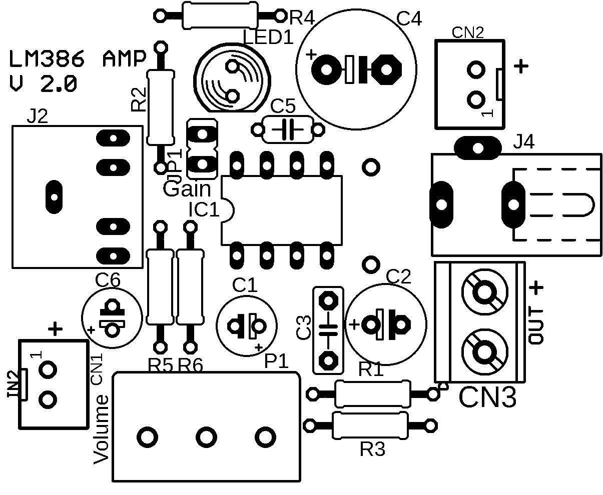 lm386 pcb amplificador placa 2 Circuito de amplificador de áudio com CI LM386   inclui placa potência lm386 LM Circuitos Áudio Amplificador