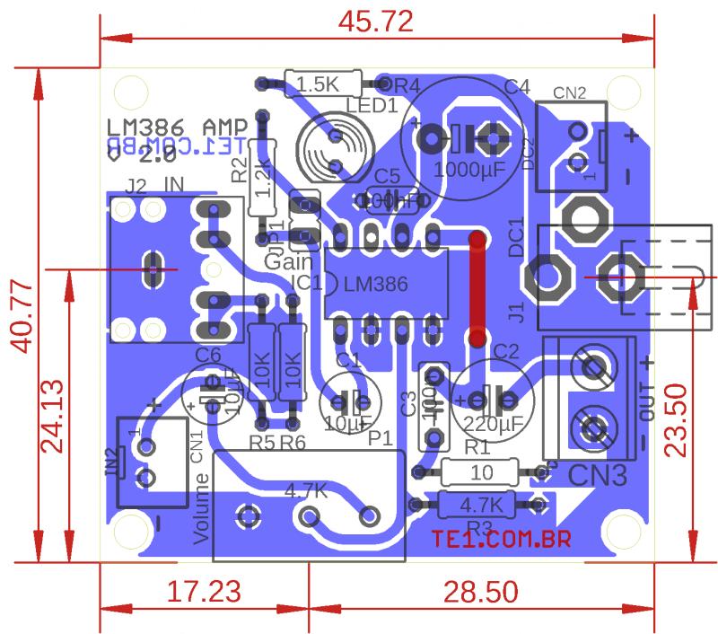 Lm386 pcb componente amplificador audio lm386 amplificador lm386 circuito amplificador de áudio com pcb