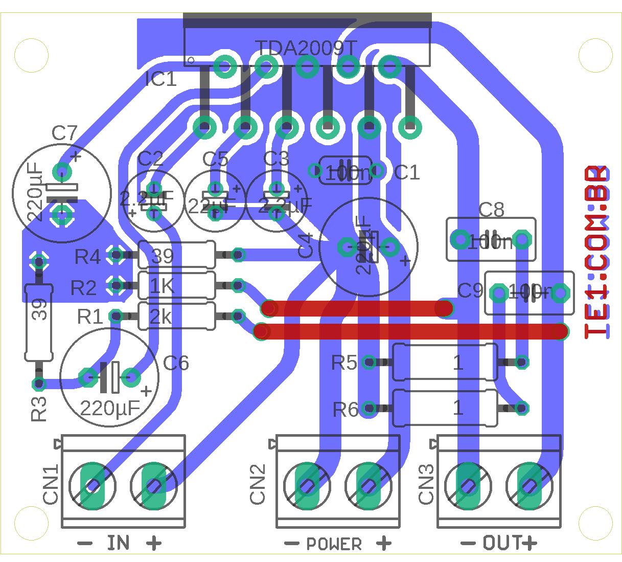 tda2004 amplificador 18w rms Circuito amplificador de 18 watts RMS em ponte usando tda2009 Circuitos Áudio