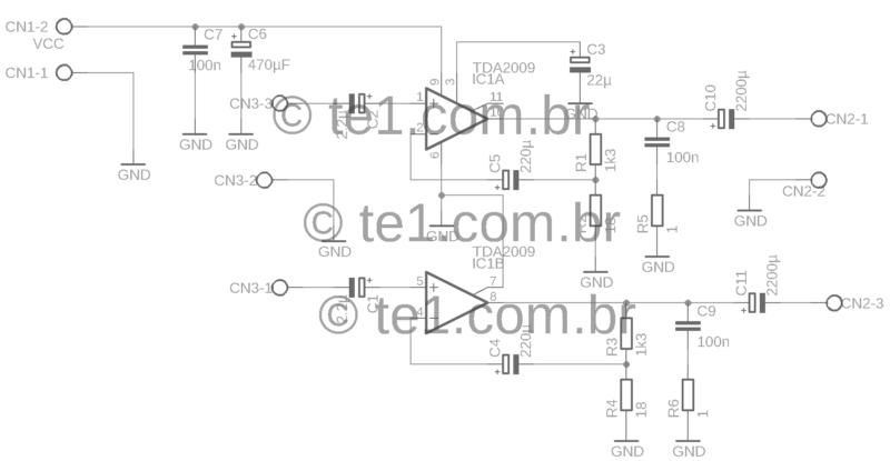 Tda2009 Stereo Amplificador Esquema Tda2009A Amplificador Tda2009A Circuito Amplificador Potência Estéreo 2X 10W