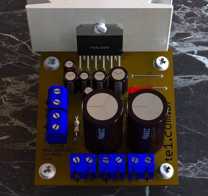 Circuito de amplificador de potência estéreo de 10 + 10 watts com tda2009