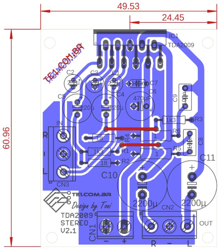 Tda2009 Stereo Amplifier Pcb Layout Tda2009A Amplificador Tda2009A Circuito Amplificador Potência Estéreo 2X 10W