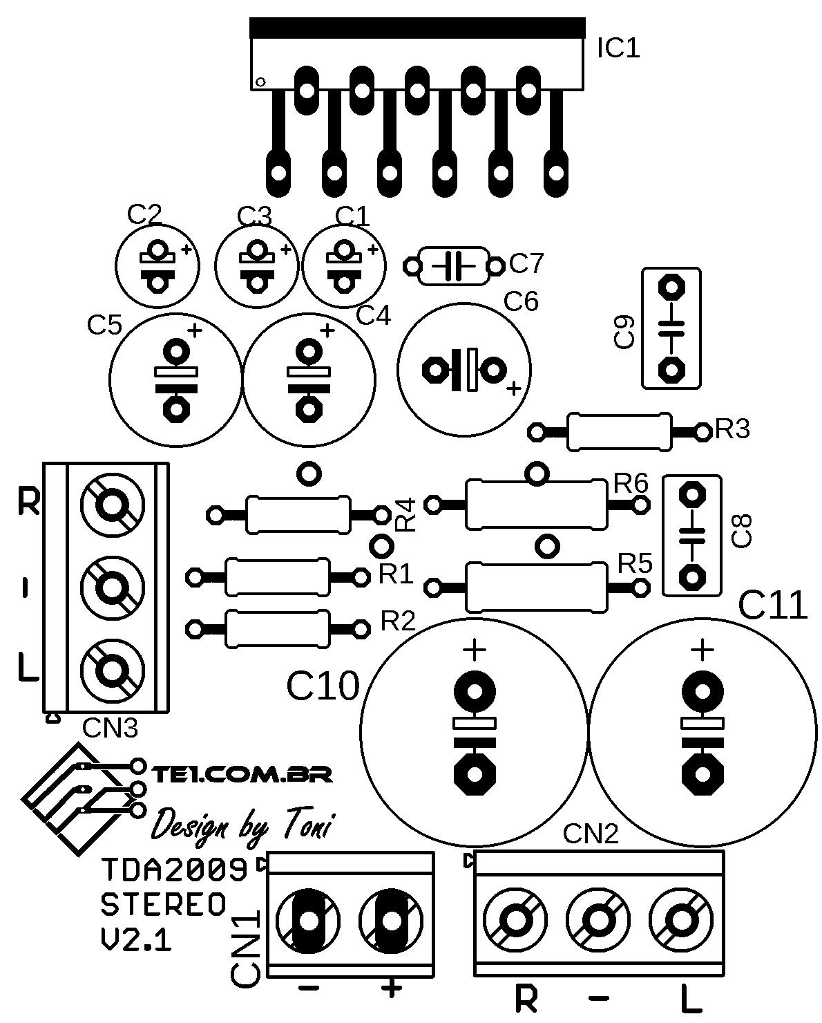 Silk screen dos componentes para o circuito com tda 2009