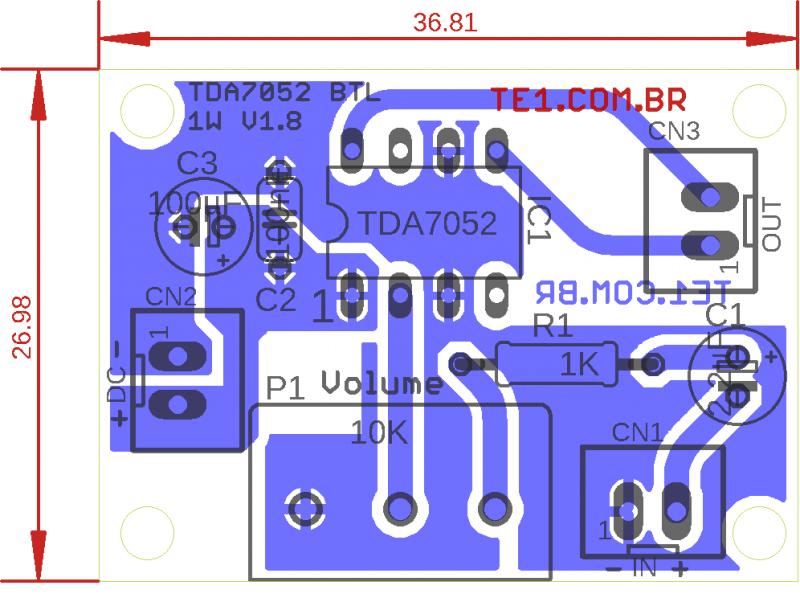 Tda7052 Comp Pcb Tda7052 Amplificador Tda7052 Circuito De Mini Amplificador Btl 1 W