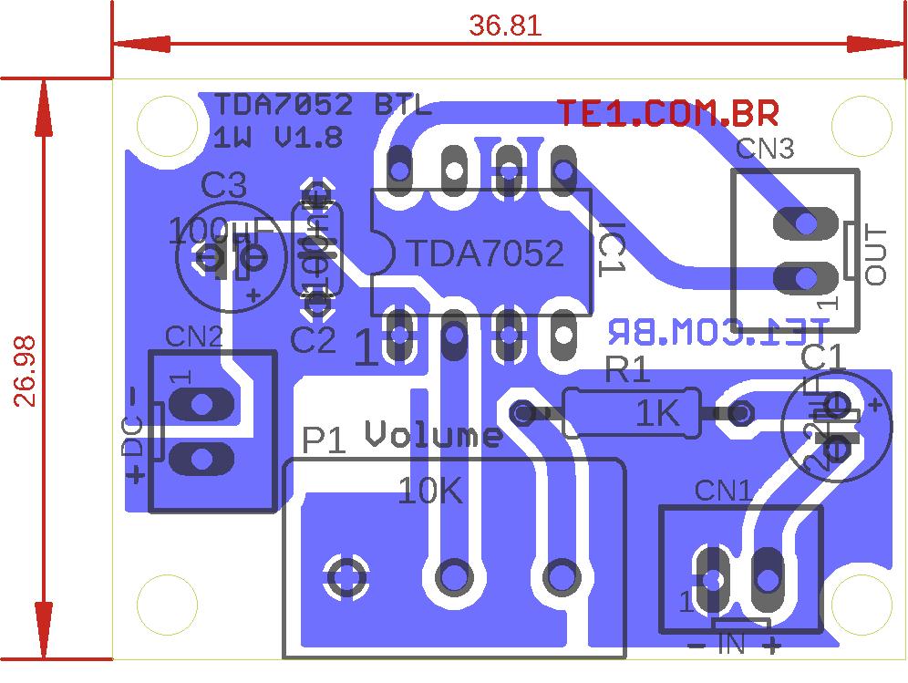 tda7052 comp pcb Circuito de mini Amplificador BTL com CI TDA7052 1 W tda Pré amplificadores Circuitos Áudio