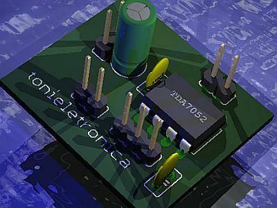 O tda7052 é um amplificador mono em encapsulamento plástico dil de 8 pinos