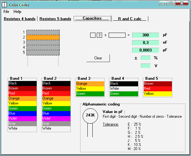 Coding and decoding of color coded resistors and capacitors with 4 and 5 bands.