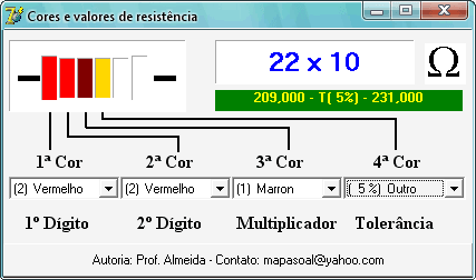 registores dodigo cores resistores Download registores software para calculo de cores de resistores do professor Almeida Teste e medida Download Dicas Calculadoras