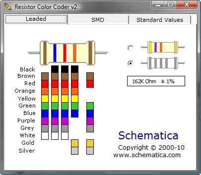 Leaded-type resistor color coder... For 4 or 5 band resistors