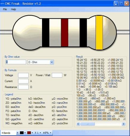 Download CNC Freak - Resistor 1.2 software gratuito para conversão de resistores de 4 e 5 bandas