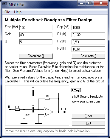 Download mfb-filter Software gratuito para calcular filtros passa banda ativos