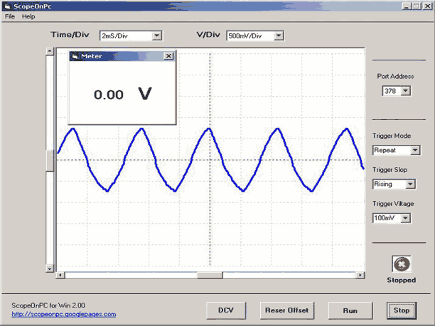 Download ScopeOnPC 2 torne seu computador num osciloscópio. Programa completo com circuito para usar a porta paralela