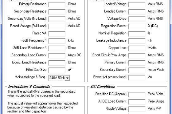 Download Ttranformer programa para análise detalhada de transformador e circuito retificador
