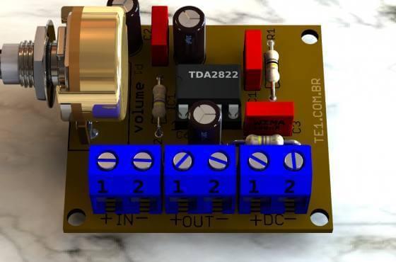 Amplificador Tda2822 Detalhe Montagem 1 Tda2822 Amplificador Tda Tda2822 Amplificador De Áudio Em Ponte (Bridge)