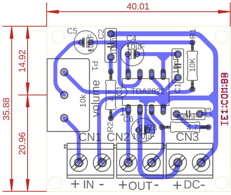 Tda2822 amplificador placa de circuito impresso