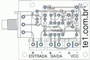 amplificador tda2822 esquema 300x201 Amplificador de áudio em ponte (bridge) com CI TDA2822 tda Pré amplificadores Circuitos Áudio