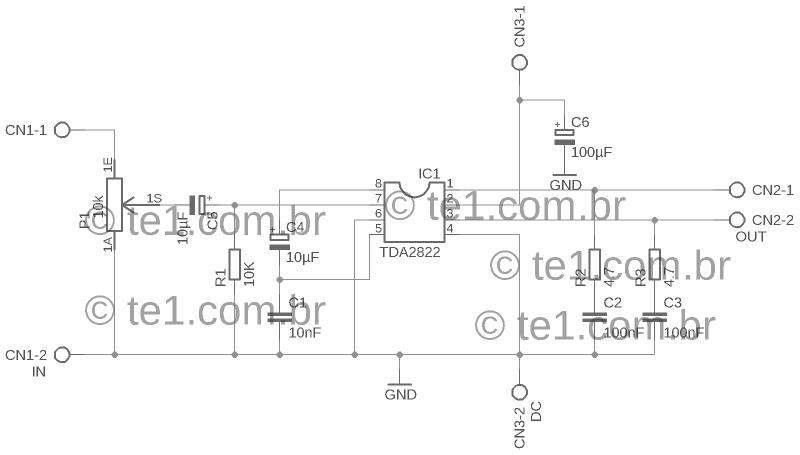 Amplificador tda2822 esquema1 1 tda2822 amplificador amplificador tda2822 amplificador de áudio em ponte (bridge)