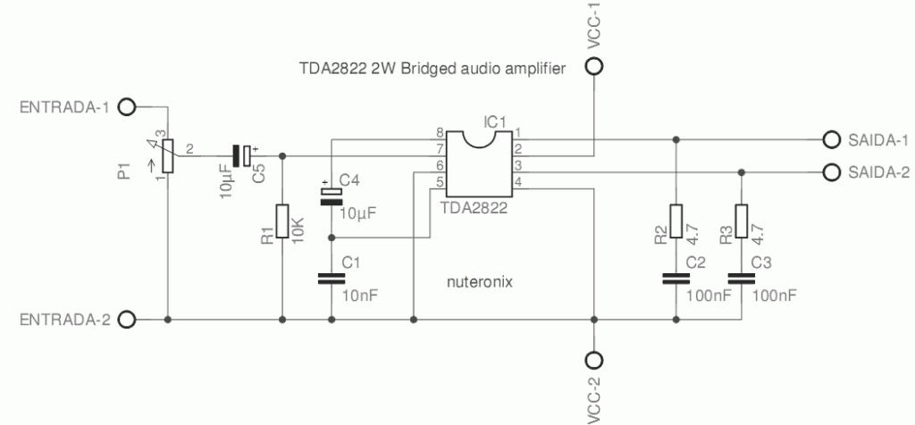 amplificador tda2822 esquema1 1024x476 Amplificador de áudio em ponte (bridge) com CI TDA2822 tda Pré amplificadores Circuitos Áudio