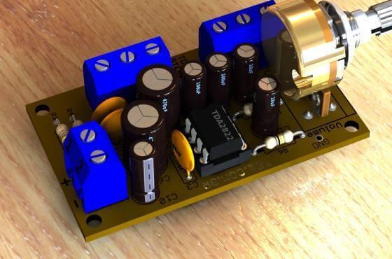 Amplificador Estereo Ci Tda2822 Volume Tda2822 Tda Amplificador Estéreo Com Ci Tda2822 Com Volume