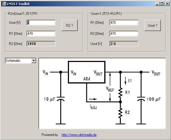 Programa para calcular a resistência a um LM317 / LM117.