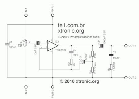 amp TDA2002 Single schematic 450x321 Circuito de amplificador de áudio de potência com circuito integrado tda2002   8 Watts. simples montagem com pcb tda Circuitos Áudio Amplificadores amplificador de audio