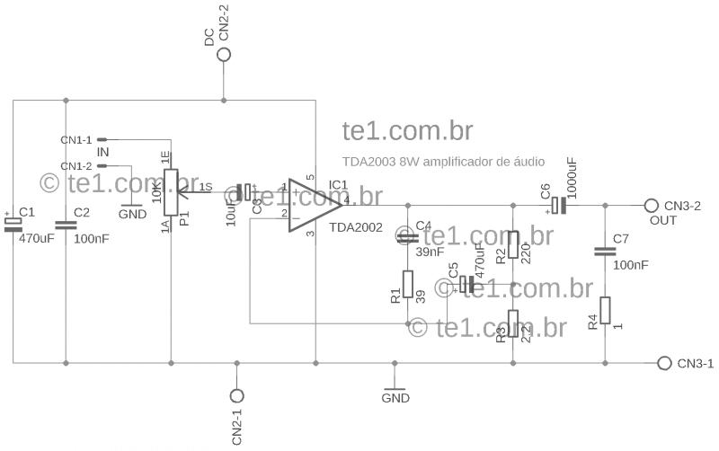Amp tda2002 single schematic tda2002 amplificador tda2002 circuito de amplificador potência 10w