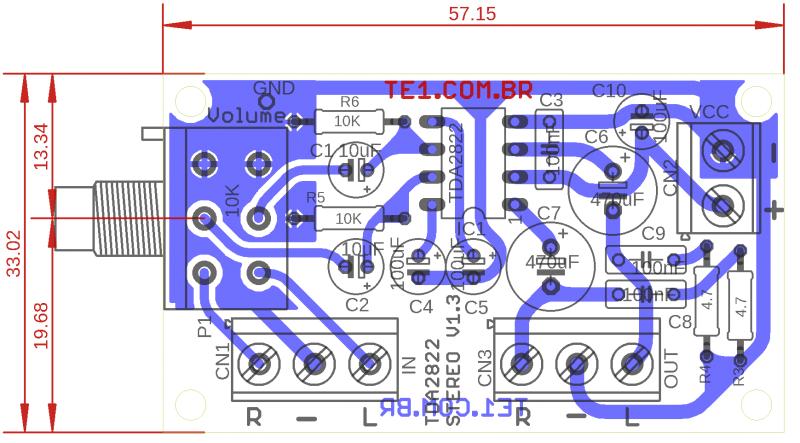 Amp Tda2822 Dual Layout 1 Tda2822 Amplificador Amplificador Estéreo Com Ci Tda2822 Com Volume