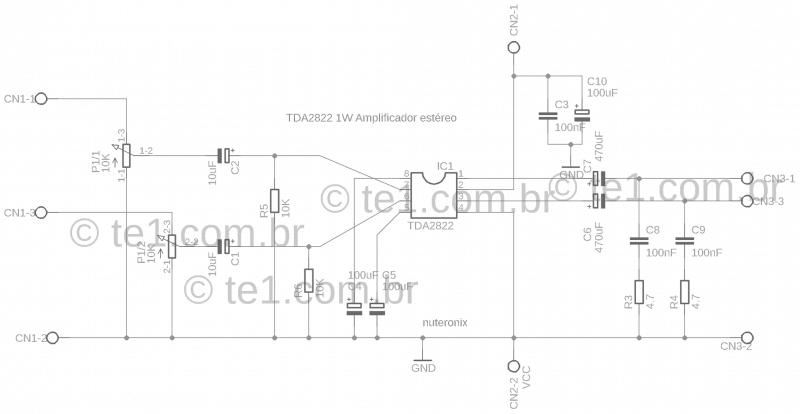 Amp Tda2822 Dual Schematic 1 Tda2822 Amplificador Amplificador Estéreo Com Ci Tda2822 Com Volume